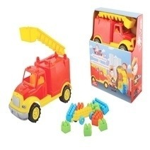Ucar Small Fire Truck & 36 Pieces Junior Block