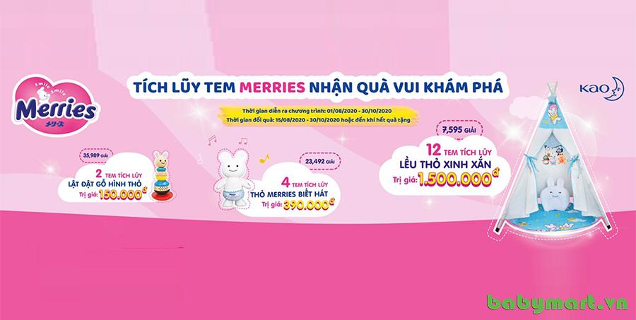 Tích lũy tem Merries nhận quà vui khám phá cùng babymart.vn